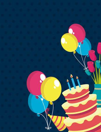 happy birthday party set icons Vektoros illusztráció