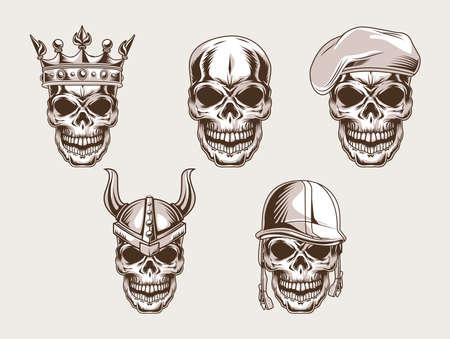 skulls heads set style icon Vektoros illusztráció