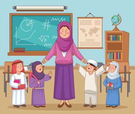 arabic female teacher with kids Vecteurs