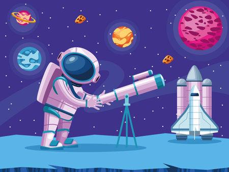 astronaut using telescope space scene