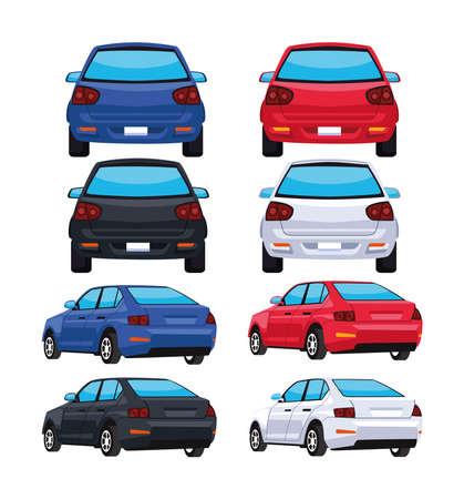 bundle eight cars back icons Vetores