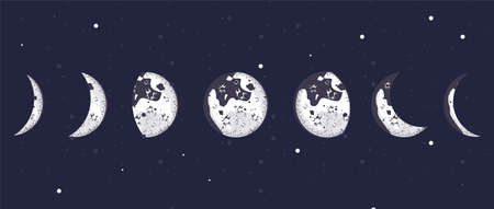 seven moon phases universe scene