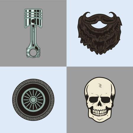 four biker patches set icons