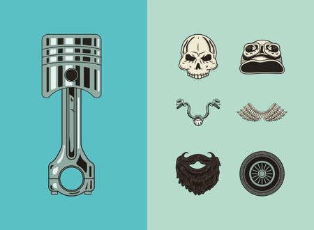 seven biker patches set icons