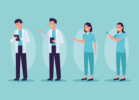 doctors and nurses avatar characters Vector Illustratie