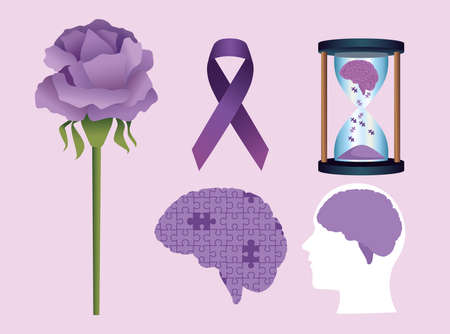 five alzheimer disease set icons Vector Illustratie