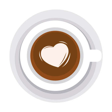 love coffee cup with heart Vettoriali