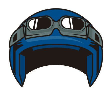 motorcycle blue helmet with goggles