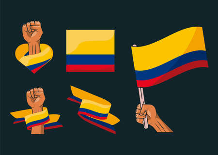 six colombia resists icons Vettoriali