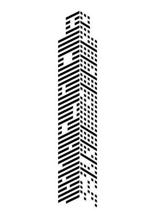 skyscraper monochrome icon Vettoriali