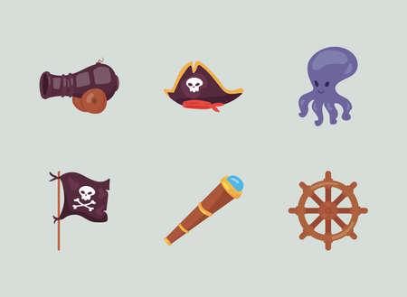 six pirate icons Vettoriali