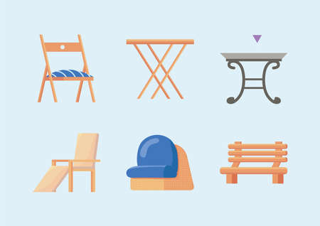 six garden furniture icons Vettoriali