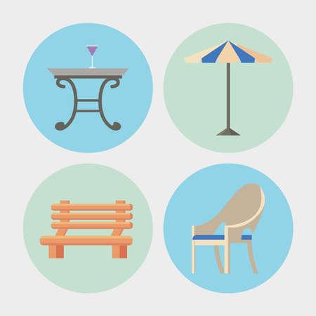 four garden furniture icons Vettoriali