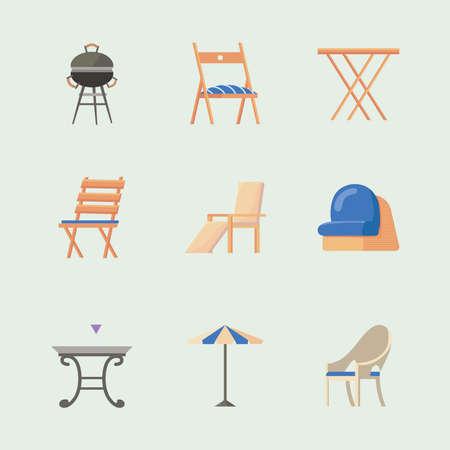 nine garden furniture icons