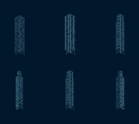 six buildings facades