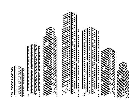 monochrome buildings urban Vettoriali
