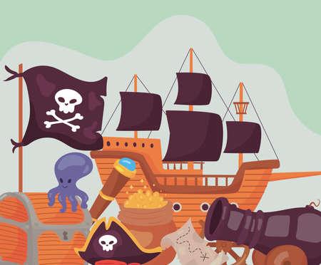pirate set icons Vettoriali