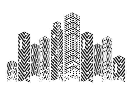 monochrome buildings scene