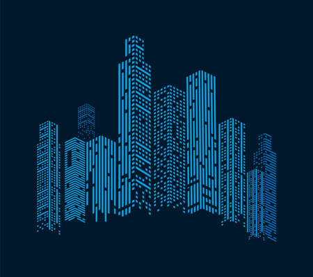 blue buildings facades Vettoriali