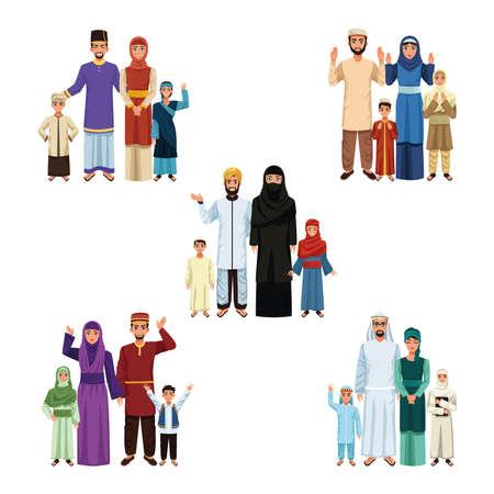 muslim families groups Vettoriali