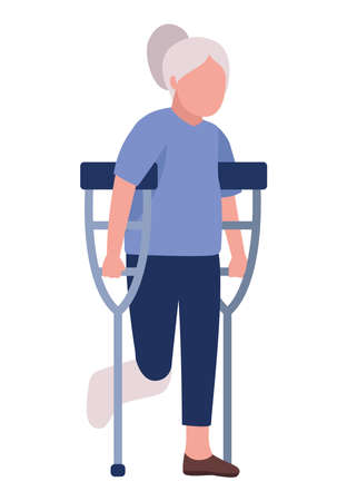 grandmother using crutches