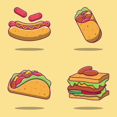 Set of cute american food illustrations, hot dog, burrito, taco and sandwich