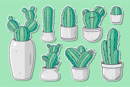Set of cute cactus illustrations