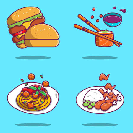 Set of cute heavy meal illustrations, spaghetti, sushi, hamburger and fried chicken
