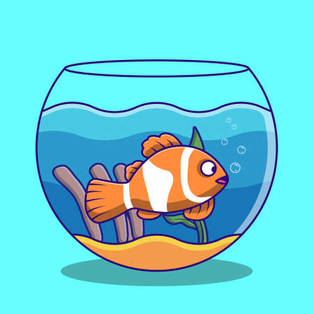 Clown fish swimming in the aquarium cartoon illustration