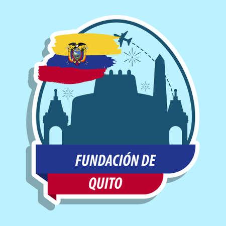 Fundacion de quito and fireworks illustration