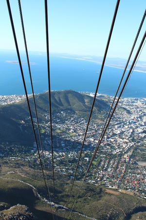 Cable way in South Africa view from the top Stock Photo