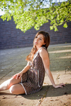 beautiful girl posing summer sunny day outdoors Stock Photo