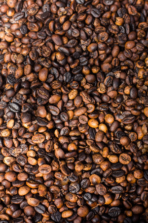 Roasted coffee beans, close-up, background Stock Photo