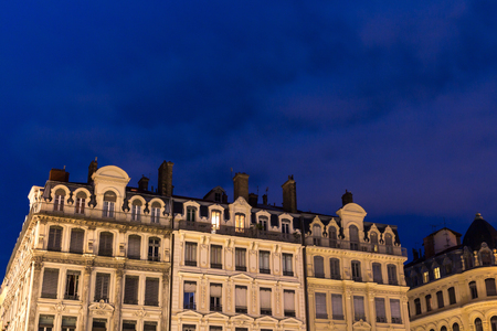 Beautiful french building, night scene, deep blue sky Stock Photo