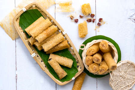 Khanom La it is folk in the south in Thailand made from rice flour. is one of the five major kinds of sweet use in ten month festival it very important tradition at Nakhon Si Thammarat province. Reklamní fotografie