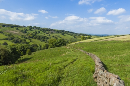 Picturesque rural farmland in West Yorkshire landscape taken at Scammonden  in Kirklees, United Kingdom Stock Photo