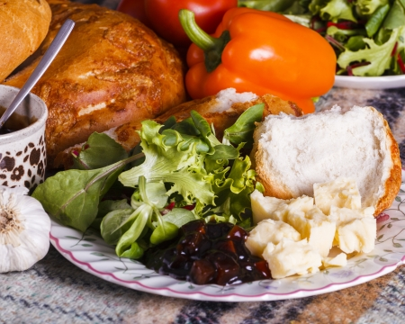fayre: Healthly picnic lunch with vegetables and cheese in cheese ploughmans lunch bar meals in landscape fomat