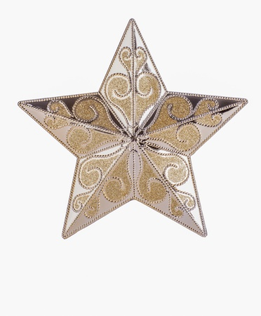Gold patterned star on white background with copy space Stock Photo