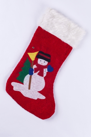 Novelty red christmas stocking with snowman on white background fluffy round the top