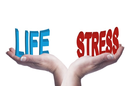 Female hands balancing life and stress 3D words conceptual image representing healthy lifestyle choices, work life balance, mental illness and ideas Stock Photo