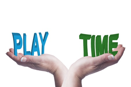 Female hands balancing play and time 3D words conceptual image representing lifestyle choices, work life balance, down time and  recreational ideas Stock Photo - 20709690