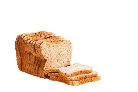 Brown wholemeal sliced bread loaf isolated on white backgroun Stock Photo