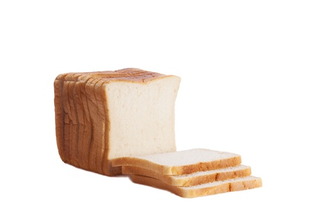 White sliced bread loaf isolated on white backgroun