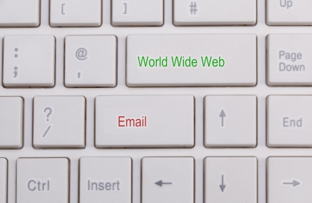 Close up of white keyboard with worldwide web and email hightlighted text