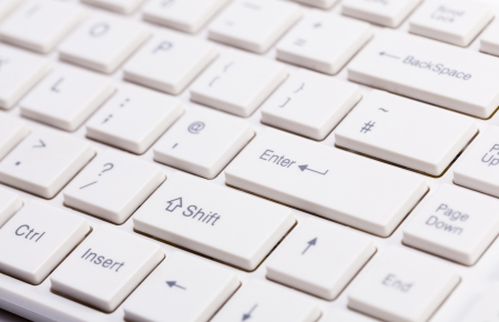 Close up of white keyboard with shallow depth of field
