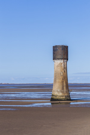manmade: Manmade oncrete tower construction on Spurn Point Beach, nature reserve Yorkshire  UK