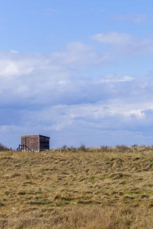 spurn: Wooden Bird Watching Hut Spurn Point in natrue reserve, Yorkshire, Unitied Kingdom