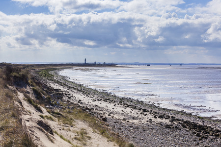 spurn: View along Spurn Point coastline with lighthouse, nature reserve, east yorkshire, UK