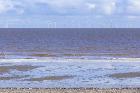 sea waves: Renewable energy, offshore industril wind farm, Spurn Point, Great Britain