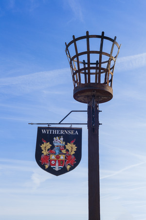 seaside town: Withernsea Seaside Town Sign with coat of arms, East Yorkshire, coastal towns, UK